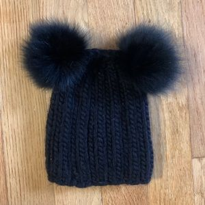 Eugenia Kim Black Wool Double Pom Hat w/ Real Fur